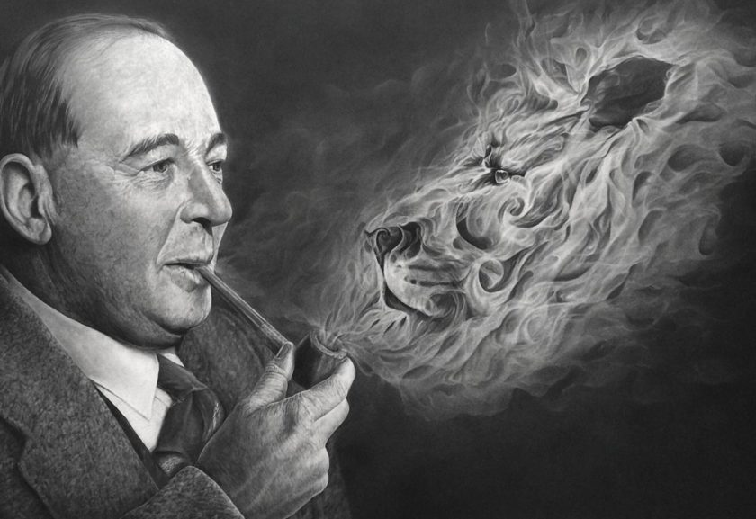 CS Lewis e seu personagem Aslam